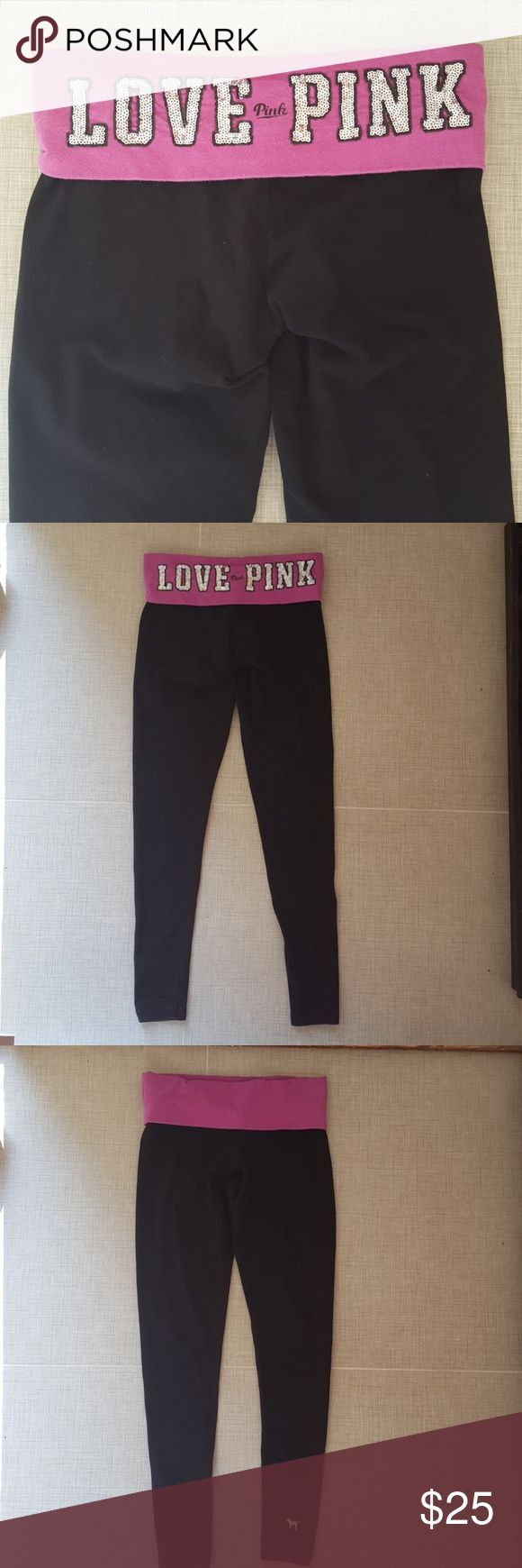 """PINK Sequin Leggings Victoria's Secret PINK foldover leggings with sequins on back waistband. Dog emblem on ankle. Black leggings, purple waistband, silver & black sequins. No pilling or holes. 29"""" inseam, waistband is 13.5"""" across when laying flat. No trades. PINK Victoria's Secret Pants Leggings"""