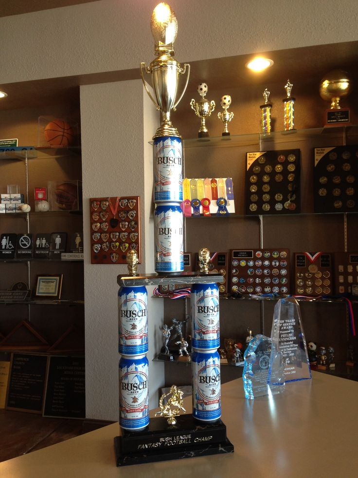 We get some funny requests when the fantasy football season rolls around! Beer can trophy by BJ's Trophy Shop, Inc.