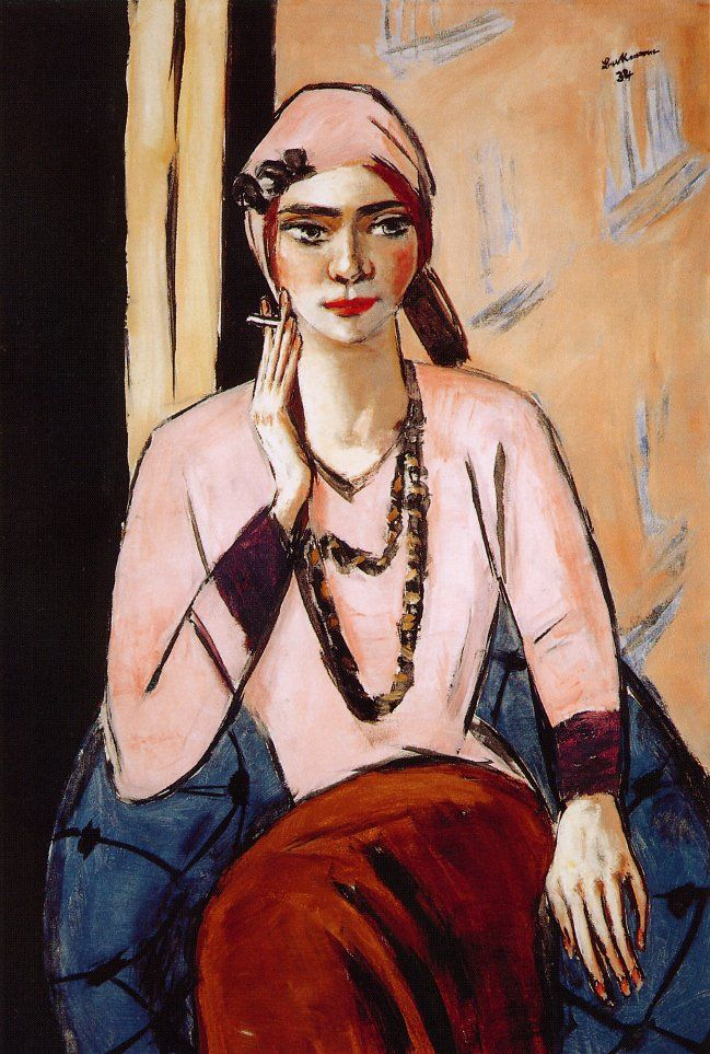 Quappi in Pink,   Max Beckmann, Germany, 1901. Lent to rejection of expressionist movement.
