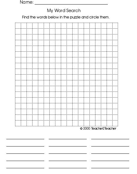 Blank Wordsearch Grids