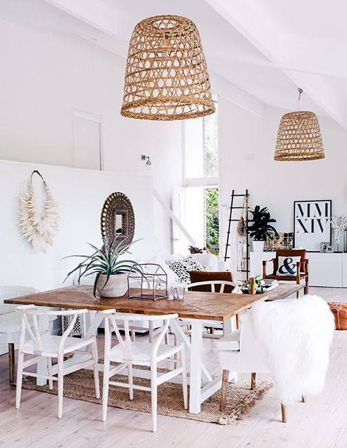 Rattan style hanging light fixtures - Could work for diningroom - chairs and shades