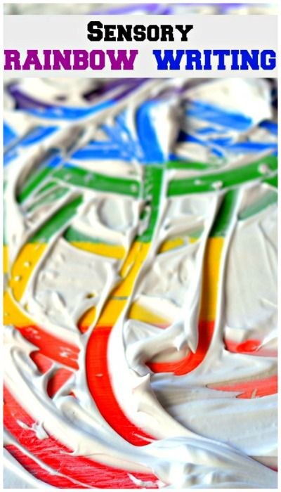 LOVE this Rainbow Writing idea.  Shaving cream over dried paint for colorful #finemotor #sensoryplay