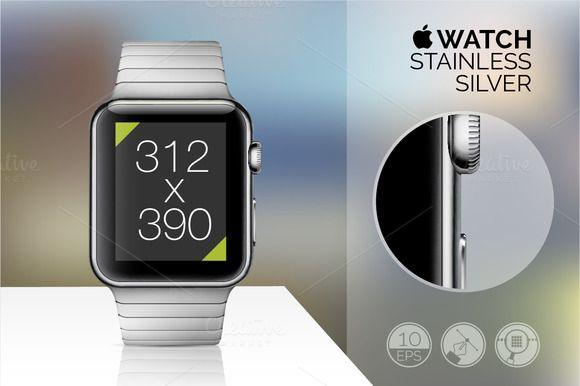 Apple Stainless Watch mockups.vector Vector illustrations of great quality with easy editable features. User's guide is on the first preview. Set includes files AI cs3 & EPS 10 FAQ included. #mockup #iphone #iwatch #mockupiwatch #mockupsiwatch #mockups #iwatchmockups, #iwatchpsd #iwatchpsdmockups