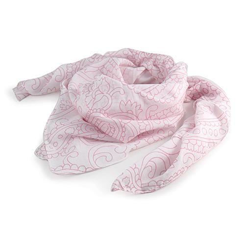 SCIARPA NIKA BIANCA ROSA  -  Sciarpa in voile di cotone con fantasia cachemire stampata.  Dimensioni: - Lunghezza cm120 - Larghezza cm 100