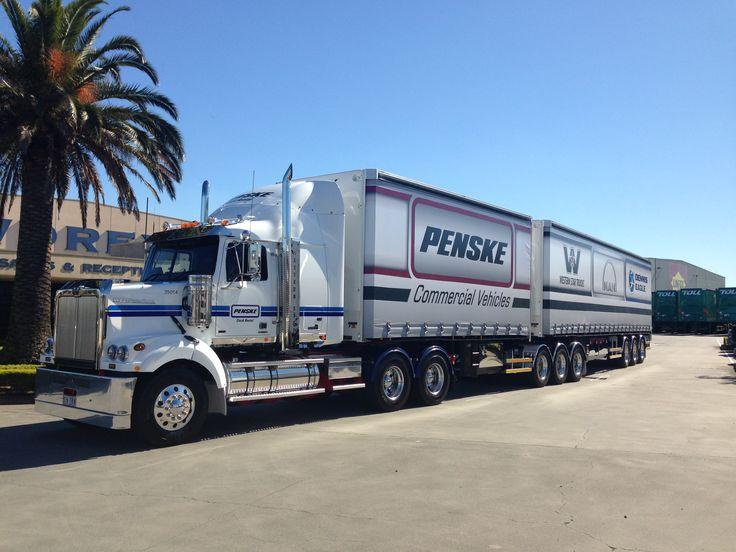 A #Penske Truck Rental prime mover from Western Star picks up new promotional trailers in #Brisbane #Australia #trucking #logistics #leasing #trucks #WesternStar