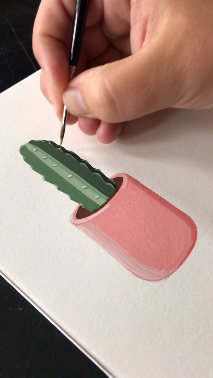 Gouache Painting A Potted Cactus by Philip Boelter