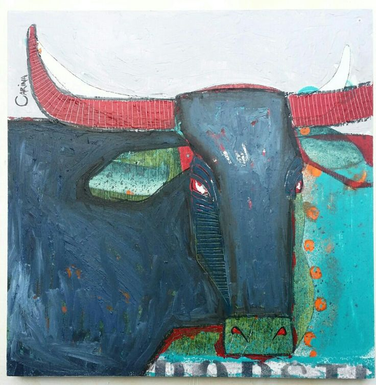 Abstract Bull - oil on board