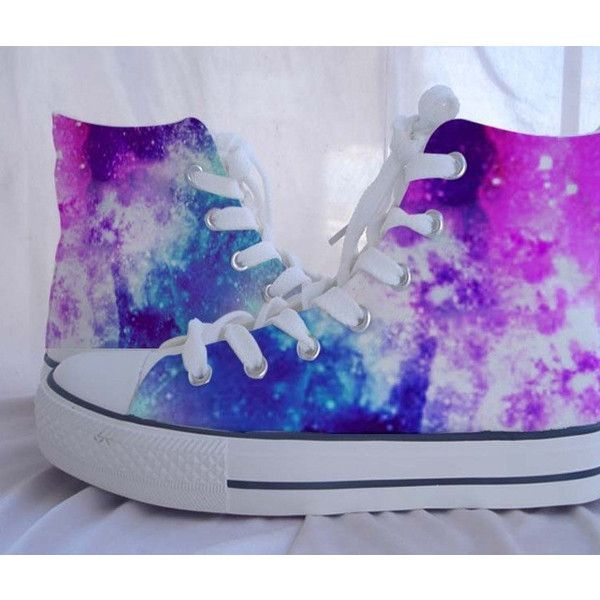Custom Converse Galaxy Converse Sneakers Hand-Painted On Converse... ($46) ❤ liked on Polyvore featuring shoes, sneakers, converse, galaxy, converse trainers, print shoes, waterproof footwear, water proof shoes and converse footwear
