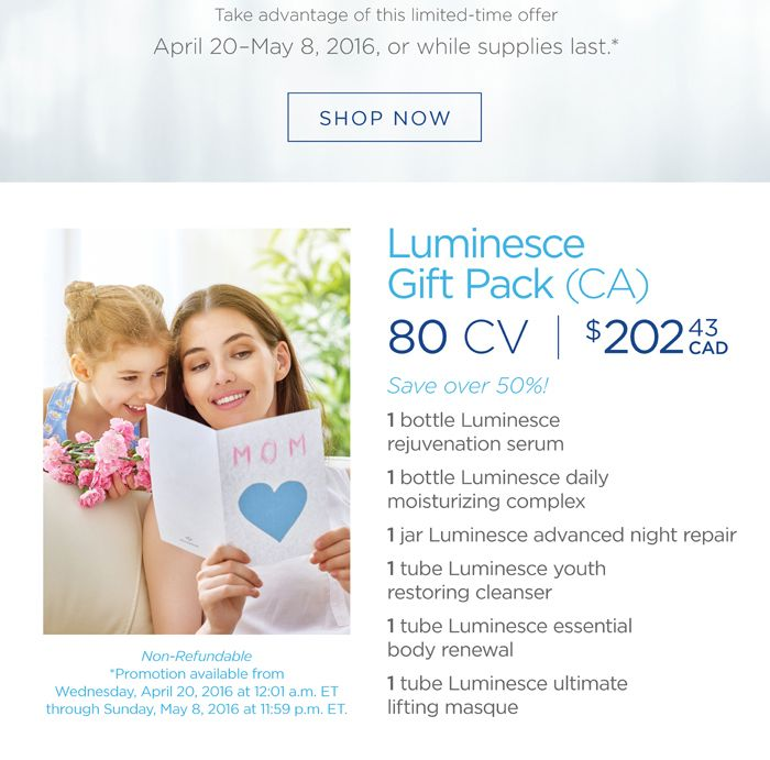 Best gift for Mom!  --  The Luminesce anti-aging skin care line restores youthful vitality and radiance to your skin, reduces the appearance of fine lines and wrinkles and reveals your unique glow. Dermatologist developed, these hydrating formulas include the exclusive, proprietary APT-200, maintaining younger, smoother, and softer looking skin.  Save 50% on member price.  check how to get this deal: http://fortimeless.blogspot.ca/