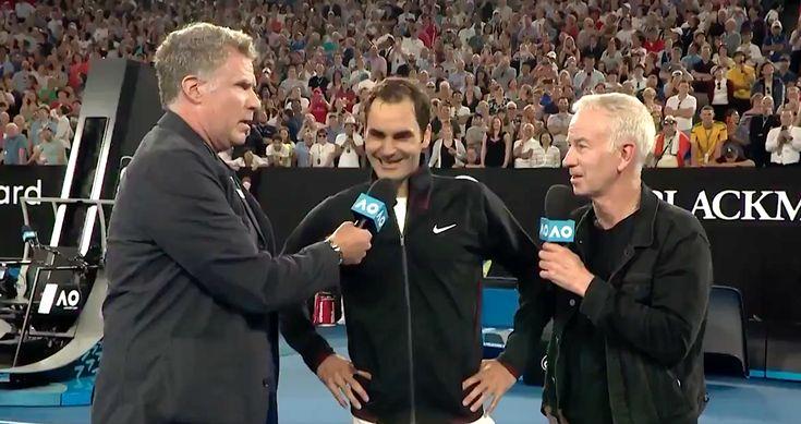 Will Ferrell Interrupts Roger Federer Interview, Goes Full Ron Burgundy | HuffPost