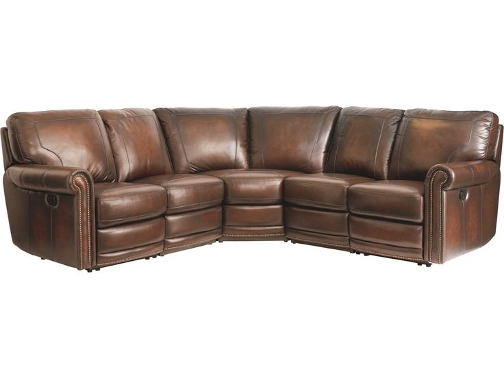 This traditional sectional sofa will add timeless elegance to your living room. The generously padded cushions and plush back pillows provide an incredibly comfortable experience. The traditional style of this piece is highlighted through its classic rolled arms, antique brass nail head trim, and quality leather upholstery. This sectional sofa will make a wonderful addition to your living room decor.