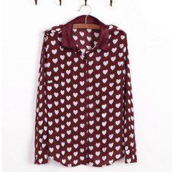 $12.40 Sweet Heart Print Shirt Neck Long Sleeves Chiffon Casual Style Shirt For Women