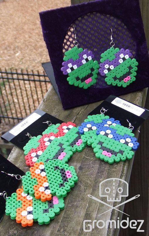 TMNT Ninja Turtle Earrings perler beads by Gromidez