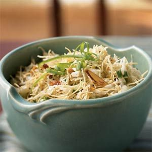 Asian Pasta Salad | MyRecipes.com  Easy and tasty, this salad is a lighter, fresher version of the classic dry noodle salad. Chinese noodles are low in fat and can be found in the Asian section of your grocery store. Sunflower seeds add a pleasing nutty flavor to the pasta salad and are an excellent source of vitamin E.