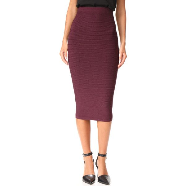 Cushnie Et Ochs Knit Pencil Skirt ($605) ❤ liked on Polyvore featuring skirts, currant, pencil skirts, purple pencil skirt, ribbed pencil skirt, purple skirt and knit pencil skirt
