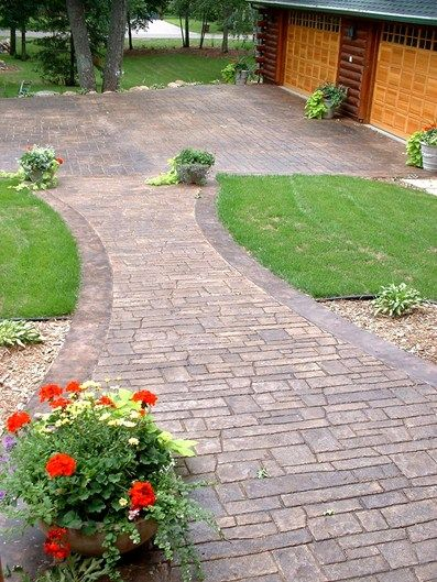 Natural, Brick Stamped Concrete Verlennich Masonry and Concrete Staples, MN