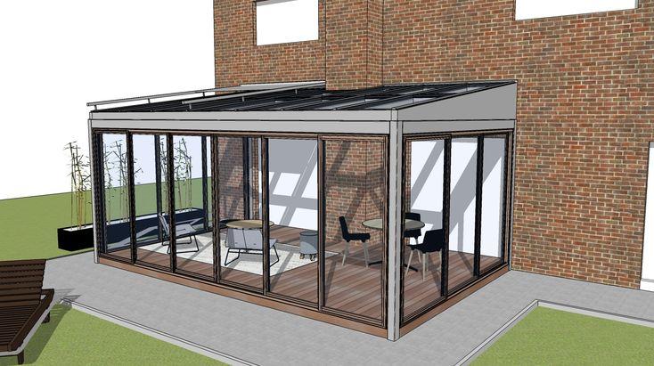 Zimná záhrada SPECEline, rámový posuvný systém Multiraum, oceľová konštrukcia