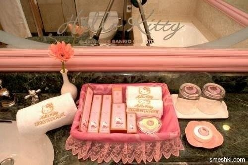 Hello Kitty Vanity & Toiletries for the bathroom. I can soooo be a guest in this house!