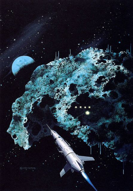 Ship and Blue Asteroid by Vincent di Fate #spaceships # ...