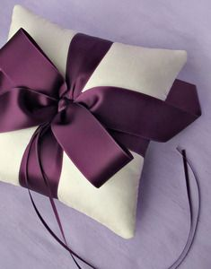 Image of Plain and Simple Luxe Ribbon Silk Ring Pillow - More Colors