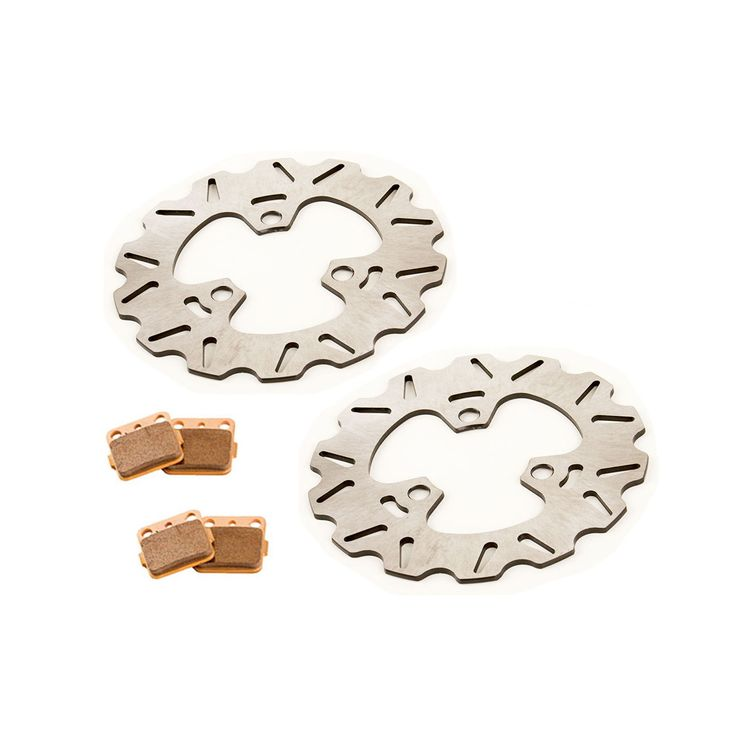 2013 Honda Sportrax TRX250X Front RipTide Brake Disc & Severe Duty Brake Pads, Silver stainless steel