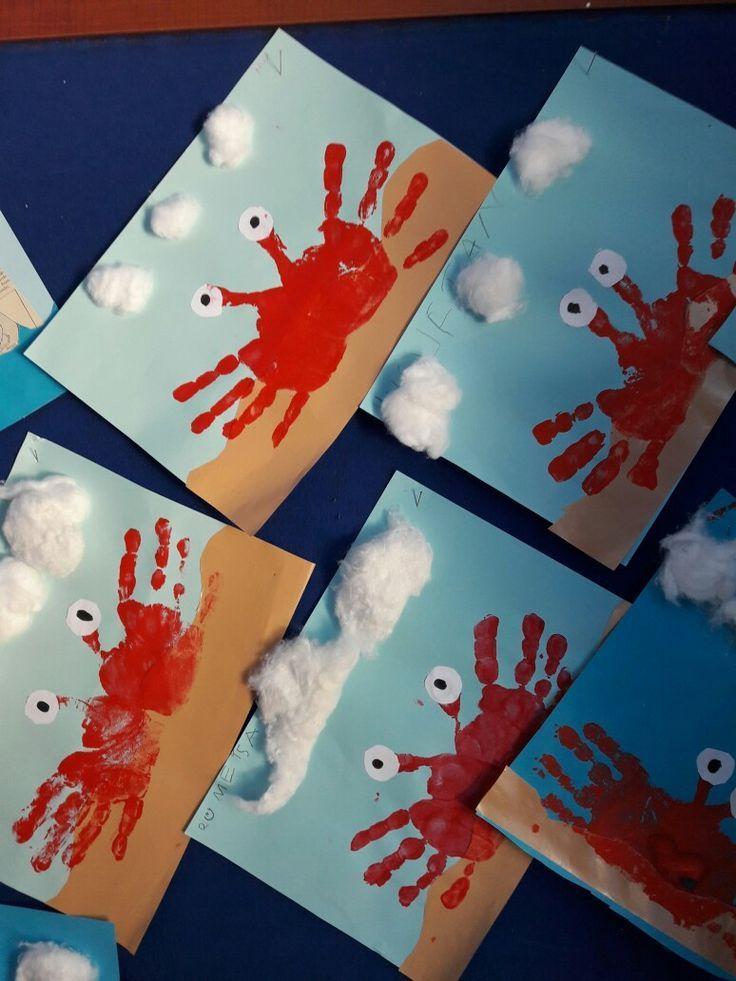 Wir basteln mit den Händen. Krabben basteln mit Kindern – #basteln #den #ete #H