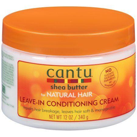 Cantu Shea Butter for Natural Hair Leave-In Conditioning Cream 12 fl. oz. Jar, Orange