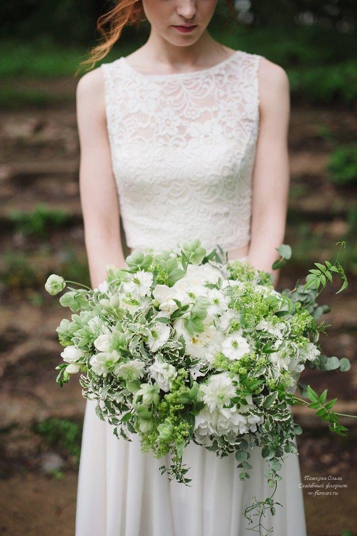 Бело-зеленый букет невесты растрепыш #букет #невесты #panton #растрепыш
