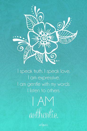 Throat Chakra Affirmation by CarlyMarie Loved by http://www.shivohamyoga.nl/ #yoga #namaste #yogi #om #chakra #affirmation