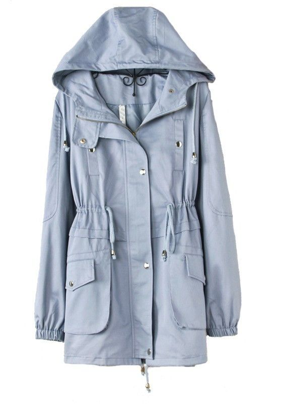 Blue Drawstring Trench Coat