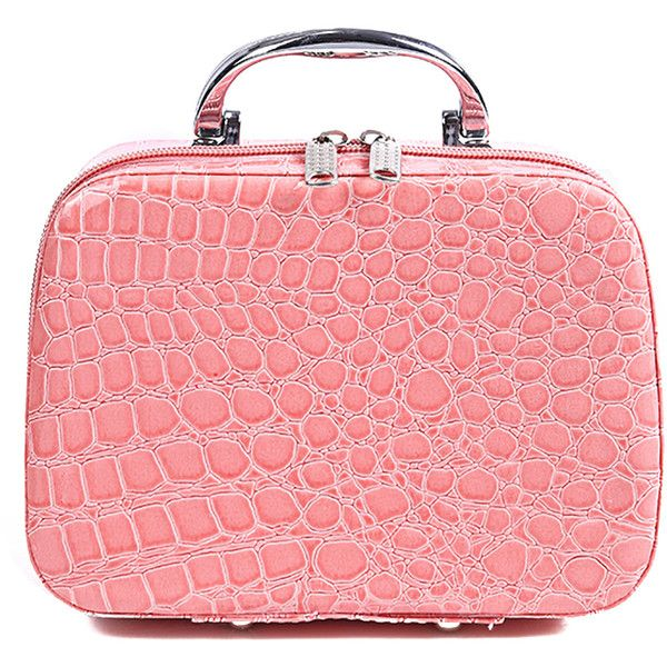 SheIn(sheinside) Crocodile Pattern Makeup Bag (8.04 BAM) ❤ liked on Polyvore featuring beauty products, beauty accessories, bags & cases, pink, makeup purse, dop kit, purse makeup bag, travel bag and wash bag