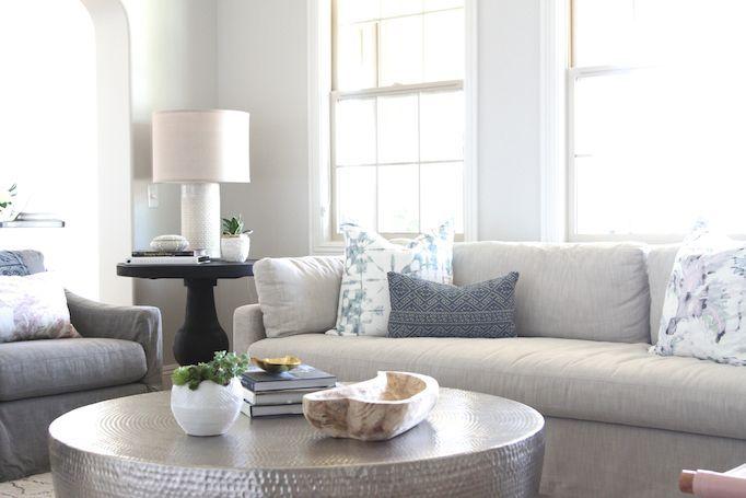 RH: Perennials Classic- Sand on sofa, Perennials Classic- Charcoal on chairs. Modern Coastal Family Room - Becki Owens