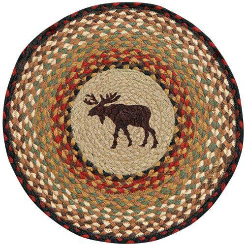 "Moose 15.5"" Round Braided Jute Chair Pad, #49-CH019M"