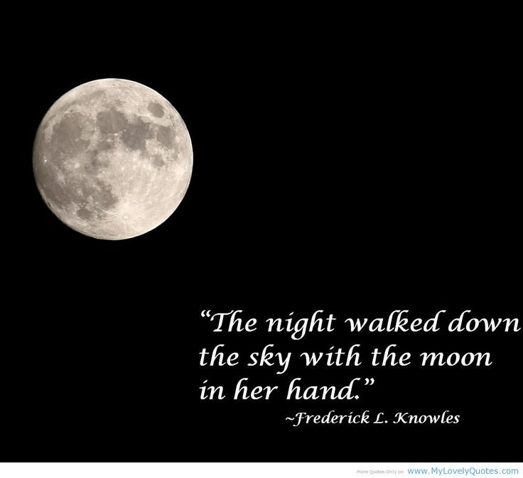 The night walked down the sky with the moon in her hand. - Frederick L. Knowles