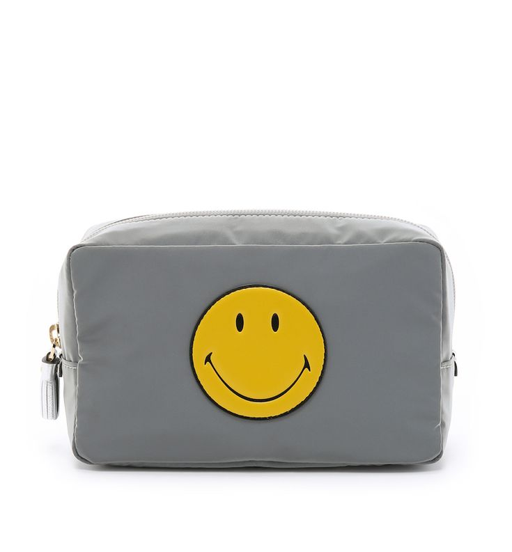 Anya Hindmarch Gray Smiley Makeup Pouch