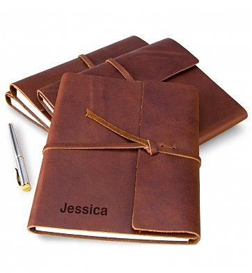 A classic gift that is always put to good use, a leather journal is a meaningful way to record personal writings, business notes, and more.