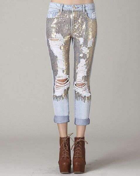 Destroyed Sequin Jeans