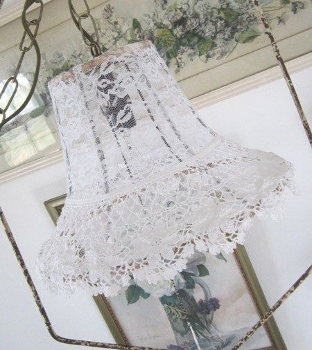 Vintage Lace Lamp Shade  Hanging Swag Light  by PurpleFlowerFairy