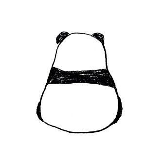 This drawing could be just an abstraction of positive and negative space, but the form of the lines causes it to be recognized as a panda. The closed boundary of the drawing helps differentiate the animal from just being blocks of black color.