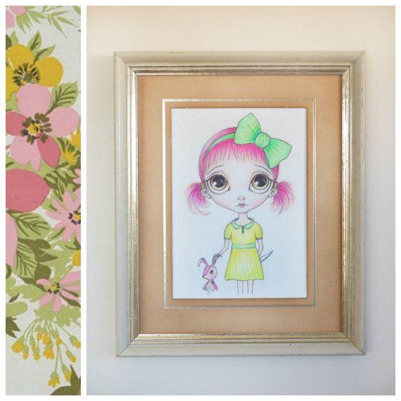 Lowbrow Art Print - Pop Surrealist Dark Art, Big Eyed Girl, Bunny Butcher, Creepy Cute Rabbit, Pink Hair, 5x7 Drawing - By Nicole Clements