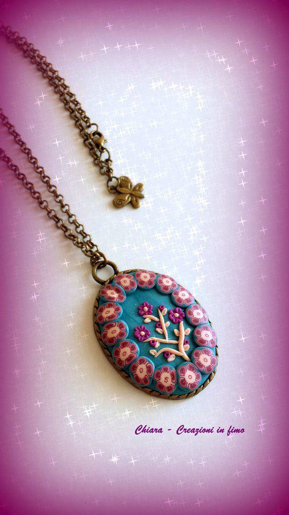 Ciondolo in fimo colori turchese bordeaux realizzato a mano con tecnica applique, by Chiara - Creazioni in fimo, 20,00 € su misshobby.com