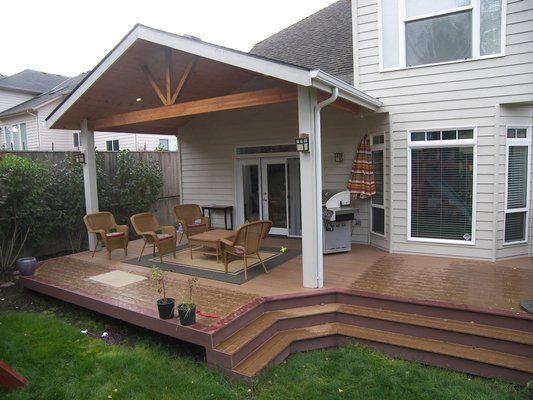 Open gable patio cover over a Trex Brasilia deck in NW Corvallis.
