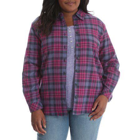 Plus Size Riders by Lee Women's Plus Fleece Lined Flannel Shirt, Size: 2XL, Purple