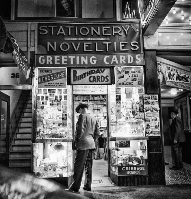 Man looking into novelty shop storefront, San Francisco (1947) Fred Lyon, photog.