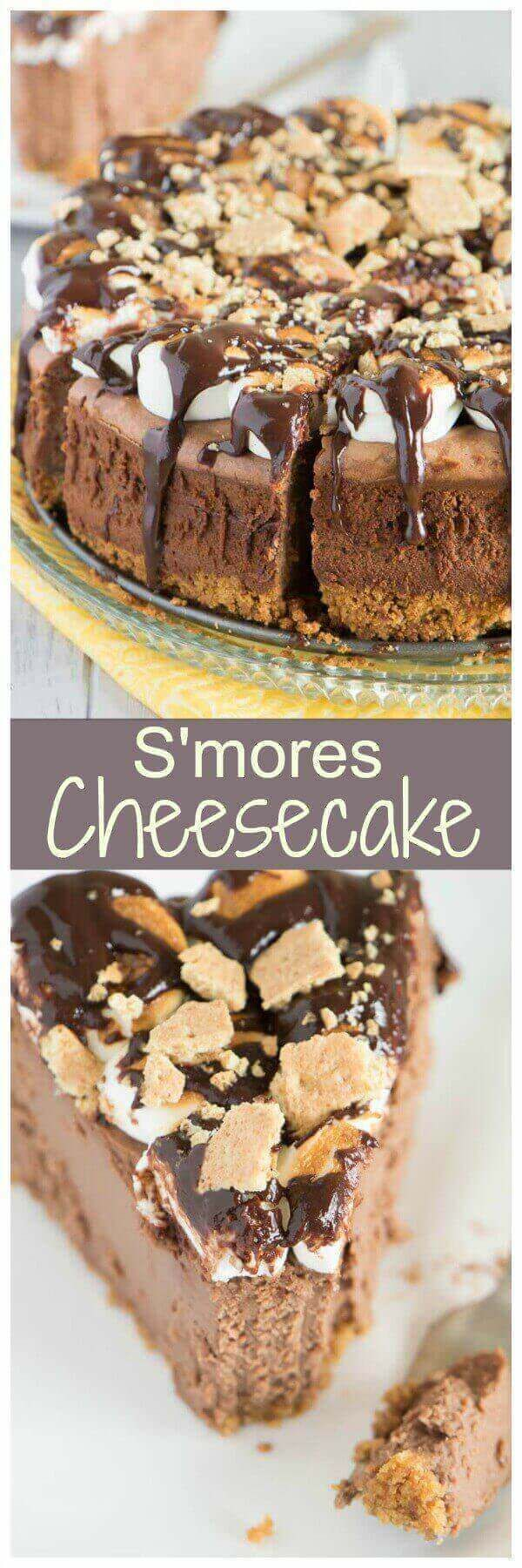 This rich and decadent smores cheesecake features graham crackers crumbs, melty chocolate, and toasted marshmallows. Enjoy!