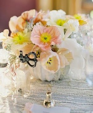 Small white pumpkins are used as vases. (Jose Villa Photography; Flowerwild Floral Design) #wedding #fall #pumpkins #centerpiece