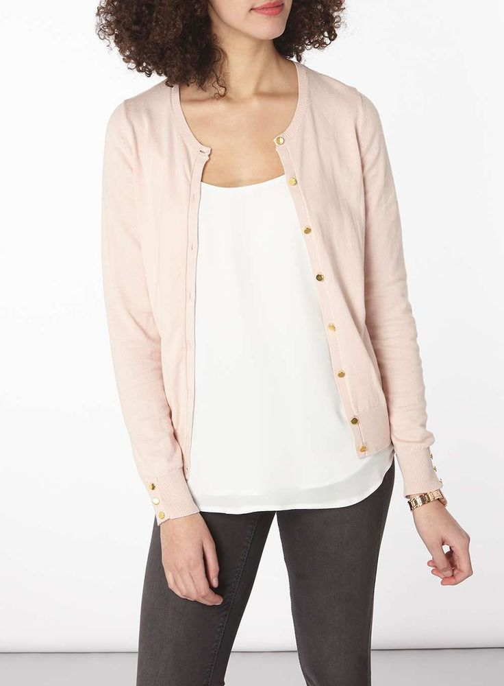 Womens **Tall Nude Gold Button Cotton Cardigan- Nude