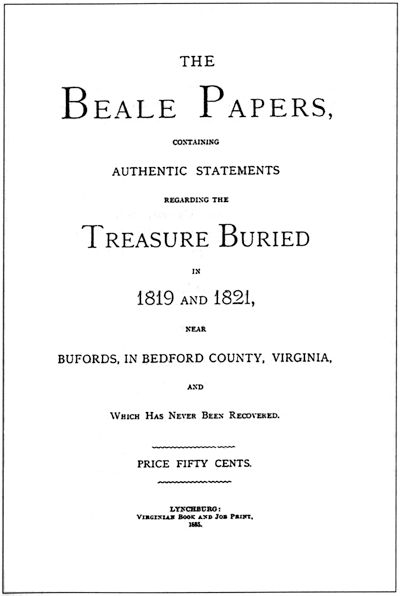 The Beale ciphers are a set of 3 ciphertexts, 1 of which allegedly states the location of a buried treasure of gold, silver & jewels estimated to be worth over $63 million as of September 2011. The 2nd ciphertext is said to describe the content of the treasure, & the 3rd to list the names of the treasure's owners' next of kin. Since the publication of the pamphlet, 1 has been decoded & attempts have been made to decode the 2 remaining ciphertexts.