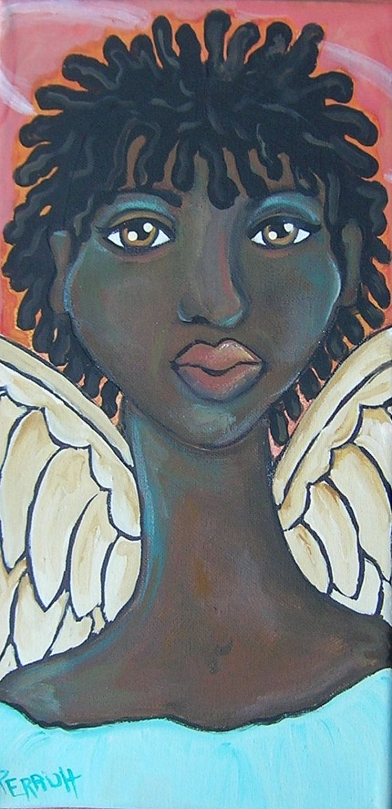 Original African American Black Angel Folk Art by OpenMindGallery, $25.00