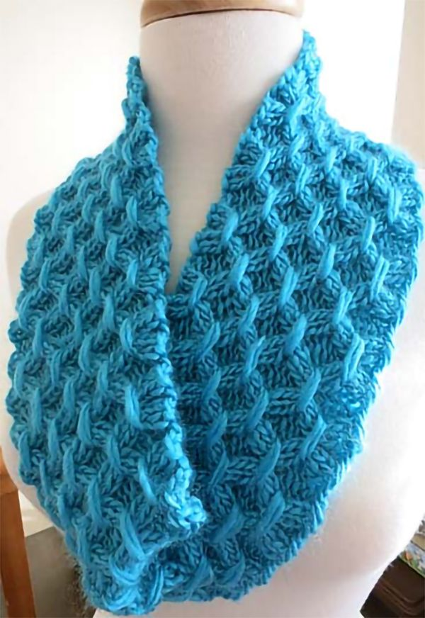 Free Knitting Pattern for Easy Sheaf Cowl - This easy cowl is knit lengthwise with an 8 row repeat. Rated very easy by Ravelrers. Worsted weight. Designed by Kathy North